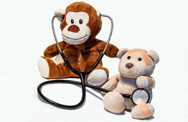 Toy monkey and bear. Monkey has a stethoscope